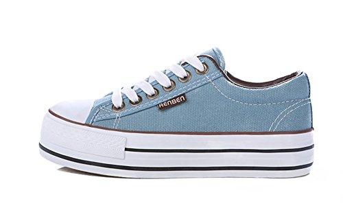 Sfnld Dames Laag Uitgesneden Platform Canvas Schoenen Sneaker Lichtblauw