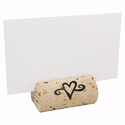 EMazing Goods Wine Cork Place Card Holders Custom Cork Card Holders Single Heart set of 25 Includes Place Cards Escort Card Rustic Wine Cork Table Décor Wine Theme Vineyard Wedding Cork Placecard