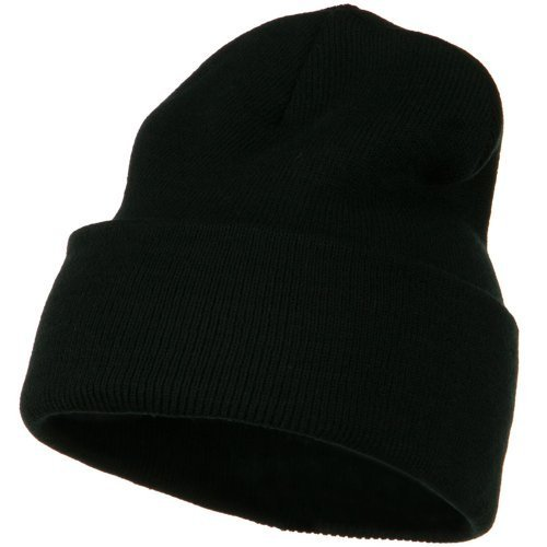 12 Inch Long Knitted Beanie - Black OSFM ()