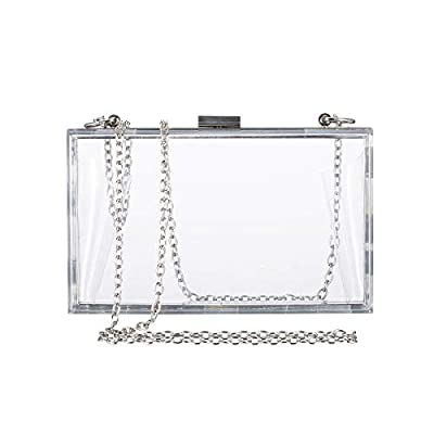 Clear Purse Bag Crossbody Box Clutch, Women Stadium Approved Purses and Handbags for School Prom, Work, Sporting Events Gameday, Fest & Concerts with Silver Chain Strap