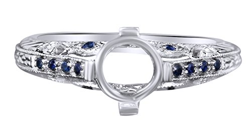 AFFY Round Cut Simulated Blue Sapphire Semi Mount Engagement Ring in 10K White Gold (0.15 cttw) Ring Size-4.5