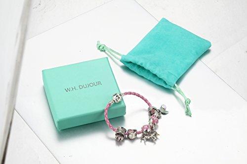 Pink Unicorn Birthday Charm Bracelet Jewelry Gifts for Girls (6.5) by Doctor Unicorn (Image #2)