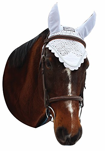Equine Couture Fly Bonnet with Silver Rope - Pony Color - White, Size - Pony