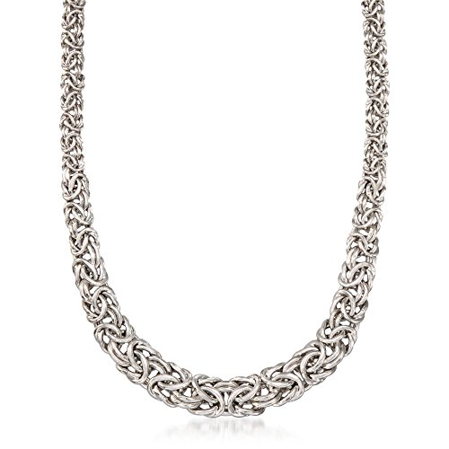 RossSimons Sterling Silver Graduated Byzantine Necklace