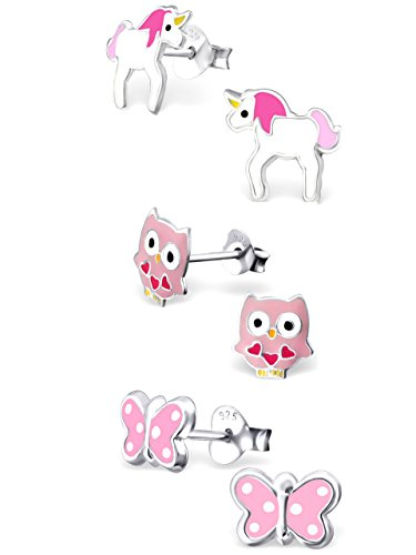 925 Sterling Silver Hypoallergenic Set of 3 Pairs Pink Unicorn, Pink Butterfly, Pink Owl Stud Earrings for Girls (Nickel Free)