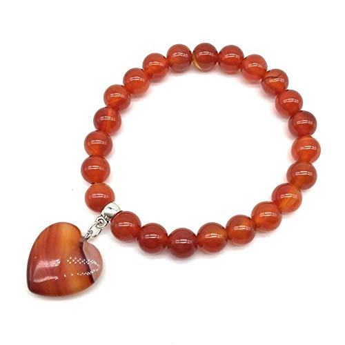 Natural Stone Bracelets | 8 Mm Stretch Elastic Bangles | with Heart Charm Jewelry | 20 Kinds Stones (5pcs)