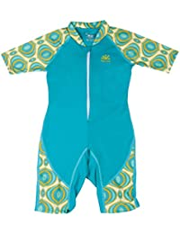 Nozone Girls Ultimate One-Piece Sun Protective UPF 50+ Swimsuit Surfsuit in Teal/Avalon, 6