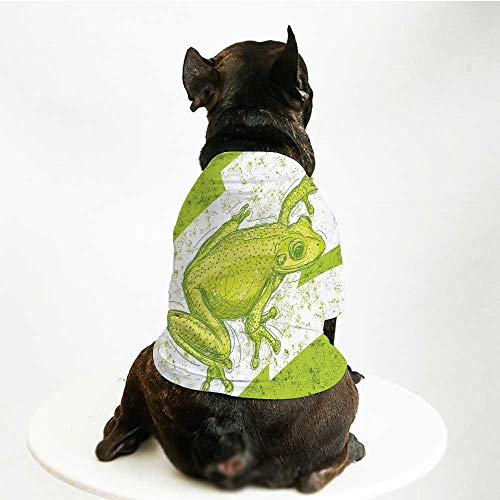 YOLIYANA Animal Decor Fashion Pet Suit,Graphic Print of a Frog on Blur Dirty Grunge Background Exotic Tropic Nature Element for Cats and Dogs,M
