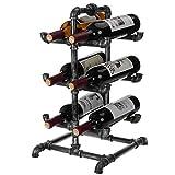 MyGift 6-Bottle Industrial Black Metal Pipe Tabletop Wine Rack