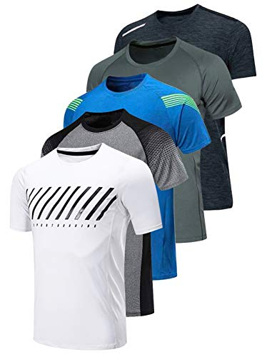 5 Pack Men's Active Quick Dry Crew Neck T Shirts