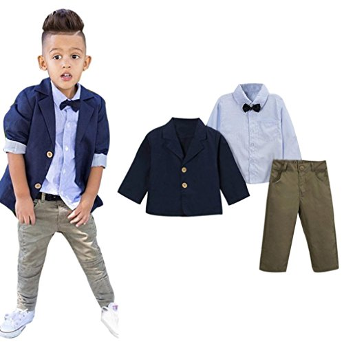 PERMAN Kids Boy Clothing Set T-shirt+ Coat +Trousers Pants For 2 - 8 Years Old