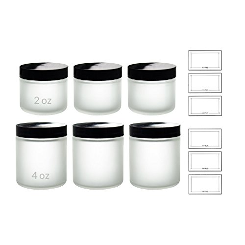 Frosted Clear Glass Straight Sided Jars (6 Pack) 3- 2 oz and 3- 4 oz + Labels