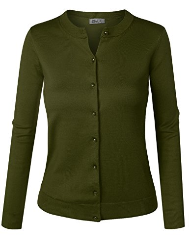BIADANI Women Pearl Button Down Long Sleeve Soft Knit Cardigan Sweater Olive Large