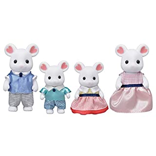 Calico Critters, Marshmallow Mouse Family, Dolls, Dollhouse Figures, Collectible Toys