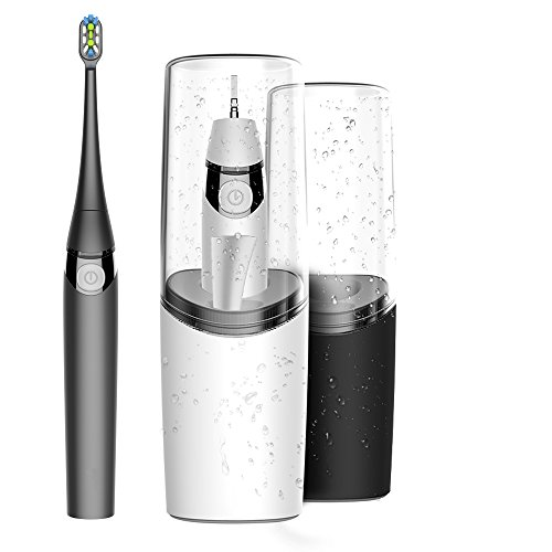 Head Sanitizer - AIJIWU Electric Toothbrush Sonic Rechargeable Travel Toothbrush,USB powered Toothbrush with brushing cup,UV Sanitizer, Cordless Rechargeable and drying pad & Replacement Heads