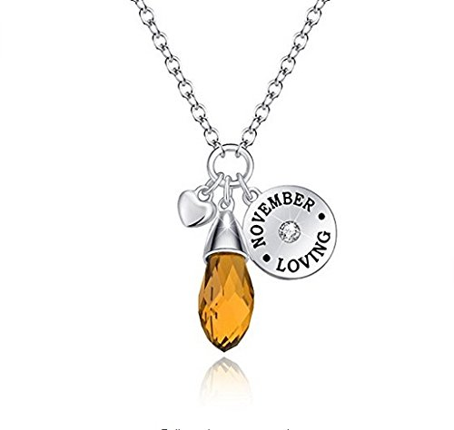 Simulated Citrine Birthstone Necklace Teardrop Pendant Elements Crystal November Birthday Gifts Valentine's Day Gifts for Women Girlfriend Wife Mom Daughter Sister Friend Anniversary Gifts for (November Birthstone Pendant)