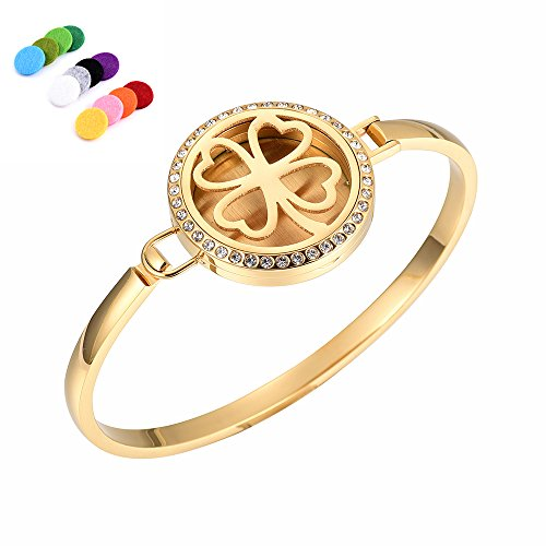 constantlife Elegant Four Leave Clover Essential Oil Diffuser Lockets Stainless Steel Aromatherapy Diffuser Bracelet Jewelry (Golden Clover)]()