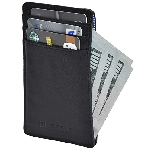 Di Cuoio Slim leather wallet credit card case sleeve with ID Window with front pocket RFID blocking … (Black)