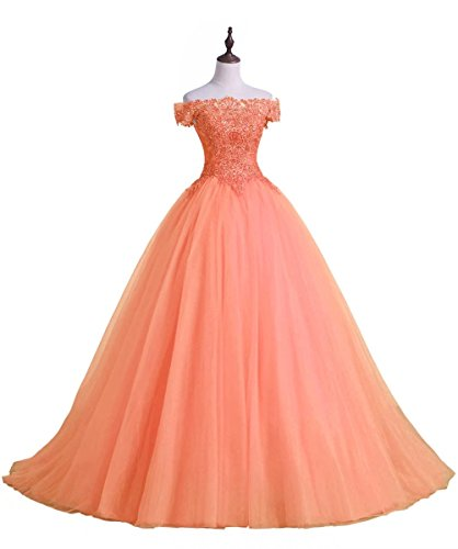 Applique Prom Shoulder The Off Quinceanera Dress Dresses Long Orange AiniDress wxPIwqHR