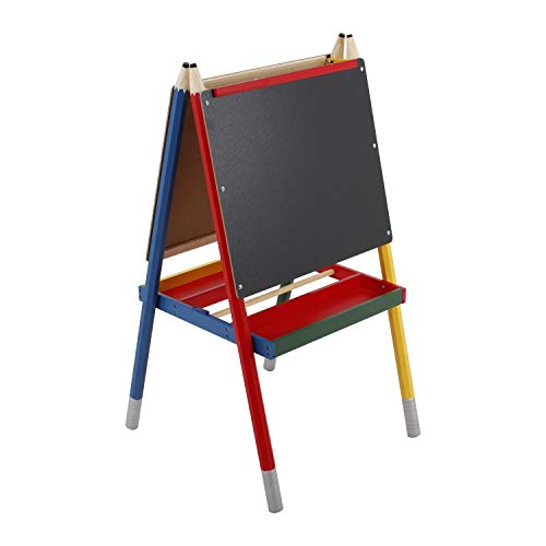U.S. Art Supply Zuma Children's Double-Sided Art Activity Easel with Chalkboard, Dry Erase Board, Paper Holder, Storage Trays - Pencil Shaped Legs - Kids Toddlers Learn to Paint, Draw, Write, Have Fun ()