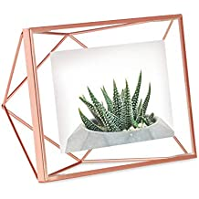 Umbra Prisma 4x6 Picture Frame – Geometric Wire Photo Frame for Desktop or Wall, Copper