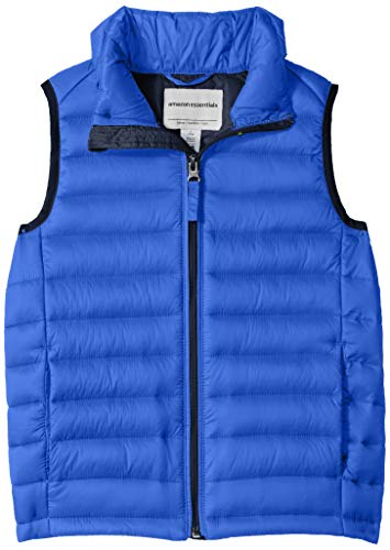 (Amazon Essentials Big Boys' Lightweight Water-Resistant Packable Puffer Vest, Royal Blue With Navy,)