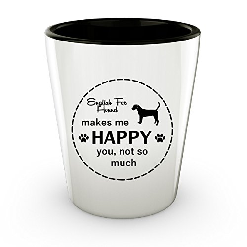 Funny English Foxhound Dog - White Shot Glass - 1.5 oz - Ceramic - Perfect Gift For Birthday, Christmass & Special (English Fox Hunter Costume)