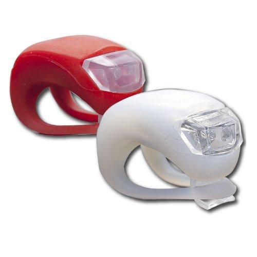 SAVFY 2 x LED Bright Silicone Bike Bicycle Front & Rear Light Flashlight Flash Kit Set (ZK-2) (White+Red)