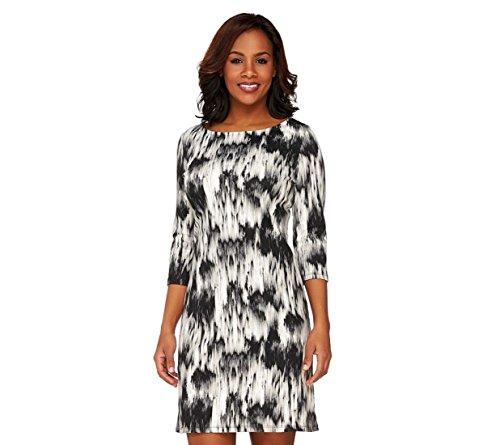 Liz Claiborne NY Bateau Neck 3/4 Slv Printed Dress A262188, Black, S