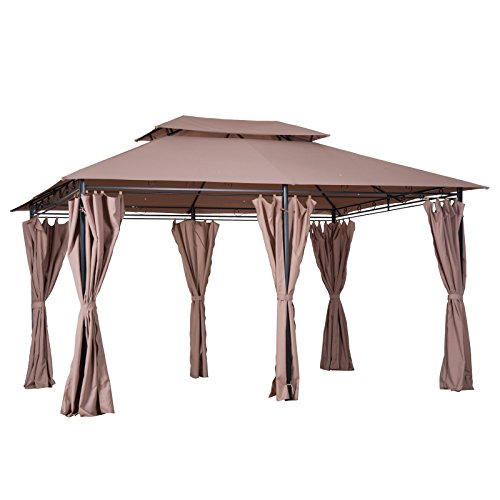 Vented Pagoda Top (Outsunny Steel 10' x 13' Outdoor 2-Tier Vented Canopy Soft Top Gazebo Durable Garden with Removable Curtains -Khaki)