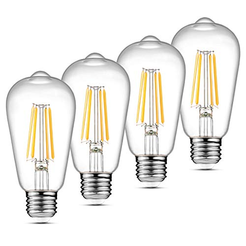 Ascher Vintage LED Edison Bulbs, 6W, Equivalent 60W, Non-Dimmable, High Brightness Warm White 2700K, ST58 Antique LED Filament Bulbs, E26 Medium Base, Clear Glass, Pack of 4