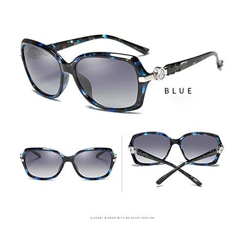 Petit Lunettes de Soleil Polarisées Lunettes Cadre Strass Soleil Color TangMengYun Protection Blue Femmes de UV Brown Conduite Élégants pour R4zAq6w