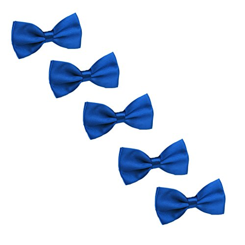 Boys Child Kids Bow ties - Adjustable Pre Tied Solid Color Wedding Party Bowties,5 Pieces (Royal blue)