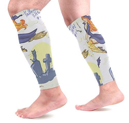 Leg Sleeve Halloween Witches Compression Socks Support Non Slip Calf Sleeves for Yoga, Running, Shin Splint, Calf Pain Relief, Runners, Medical, Air Travel, Nursing, Cycling 1Pair]()