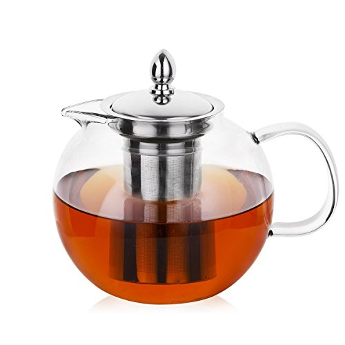 Hiware Glass Teapot with Removable Infuser, 45oz Blooming and Loose Leaf Tea Pot, Microwavable and Stovetop Safe Tea Pot and Tea Strainer (Mesh Top Steel Removable)