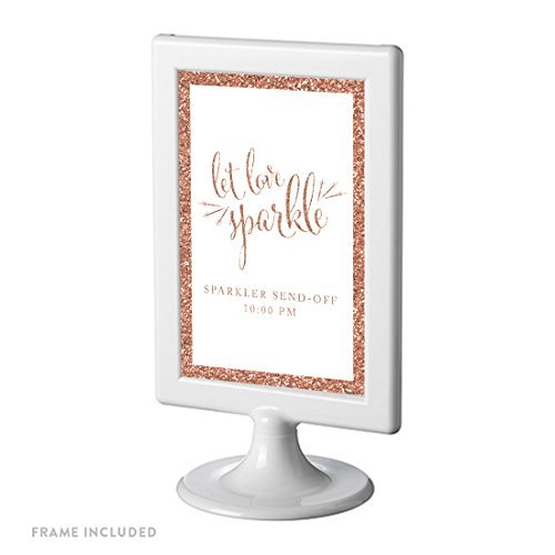 Andaz Press Framed Personalized Wedding Party Signs, Rose Gold Glitter, 4x6-inch, Let Love Sparkle, Sparkler Send Off, 1-Pack, Copper Champagne Colored Decorations, Custom Made Any Time -