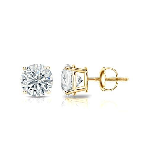14k Yellow Gold Round Diamond Stud Earrings (1ct TW, Good, I1-I2, IGI Certified) 4-Prong Basket set with Screw-backs Diamond Wish