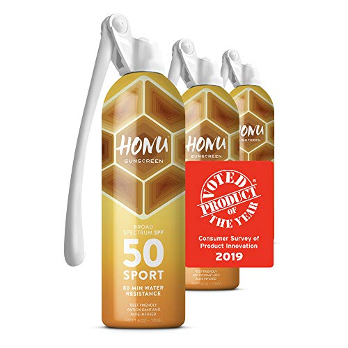 Honu Sunscreen Superior Sun Protection by Starco Brands - With Patented Spray Wand Technology and Broad Spectrum SPF 50 Allows Sunscreen Coverage to all Hard to Reach Spots (3-Pack) Beach Inspired Sea Shell
