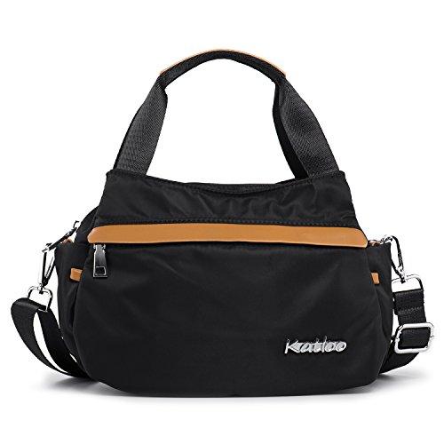 Women Small Tote Bag Nylon Handbag Top Handle Crossbody Bags with Side Pockets Messenger Casual Travel Purse Katloo (Black)