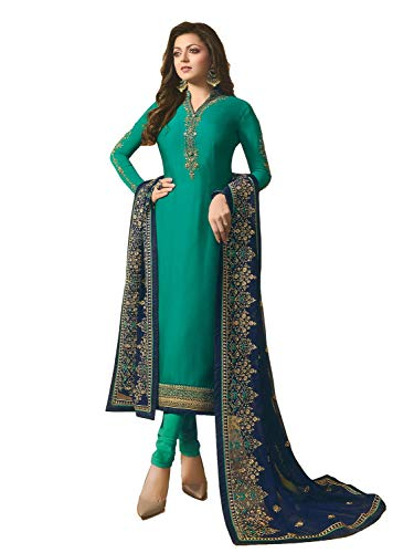 (Laxminarayan Georgette Satin Fabric Heavy Embroidered Designer Churidar Salwar Suit with Net & Faux Georgette Fabric Dupatta (Medium, Green)