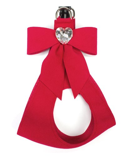Ultrasuede Step-In Dog Harness: Tail Bow with Swarovski Heart (MD (14.5''-16'' girth), Red) by Susan Lanci Designs