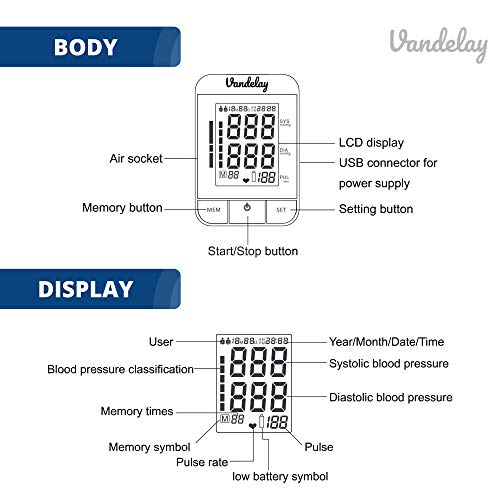 Vandelay-Blood-Pressure-Monitor-ARM-Fully-automatic-FULL-COLOR-BP-Machine-One-Touch-to-Use-Black
