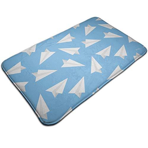 Alan Doormat Blue Paper Plane Bath Mat Non Slip Rug Bathroom Bedroom Entrance Carpet 19.5