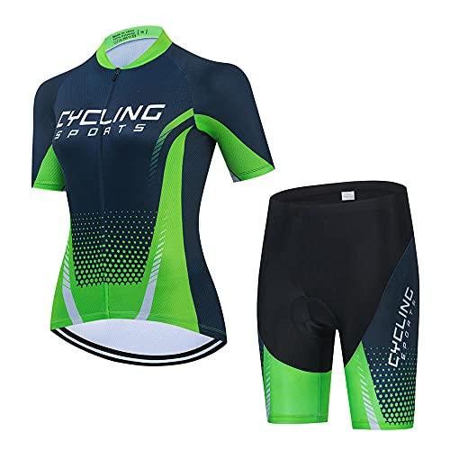 HXTSWGS Womens wielertrui en Bib Shorts Set,Fietsbroek met 3 elastische achterzakken voor fietser en MTB Pro Racing