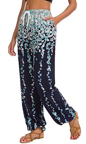 Urban CoCo Women's Floral Print Boho Yoga Pants Harem Pants Jogger Pants (#19, S)