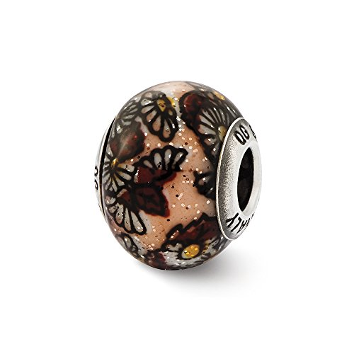 Brown Floral Overlay Italian Glitter Glass & Sterling Silver (Floral Italian Charm)