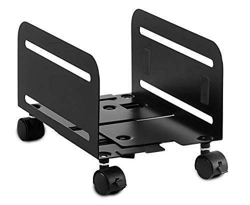 Mount-It! Rolling CPU Stand with Wheels, Heavy Duty Desktop Computer Tower Cart with Ventilation and Adjustable Width from 4.87 to 8.5 Inches, - Tower Cpu Cart