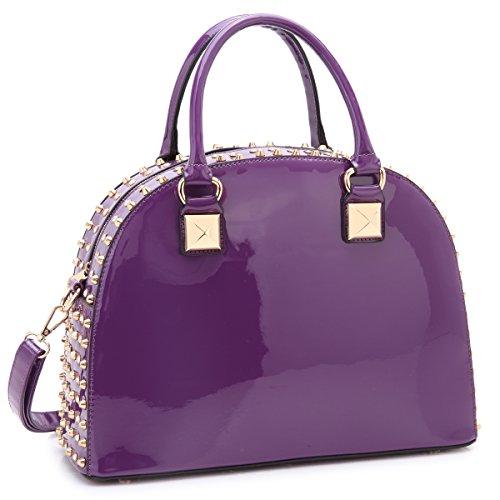 (Dasein Patent Leather Handbag Domed Satchel Bag Rhinstone Structured Shoulder Bag Designer Purse)