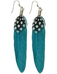 Womens Teens Girls Bohemian Natural Feather Earrings