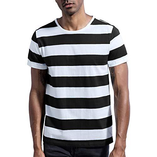 Make Skin Make Bone Mens Striped Shirt Basic Even Stripe Tee Basic Wide T Shirt Black White XL